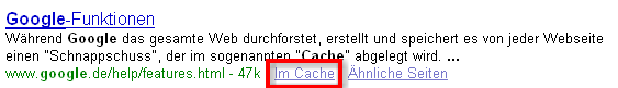 Google Cache Funktion
