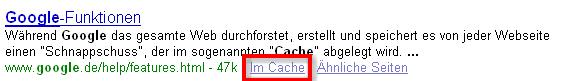 Google Cache Funktion