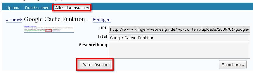 Wordpress Datei löschen