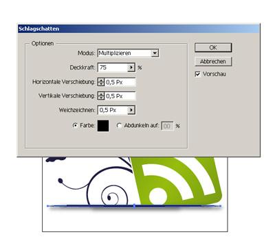 Pimped RSS-Button - Schlagschatten einfügen