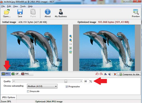 irfanView - Bild für Web speichern