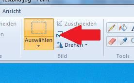 Windows Paint - Bild beschneiden