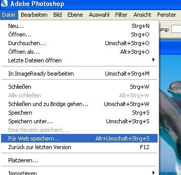 Photoshop - Bild für Web speichern