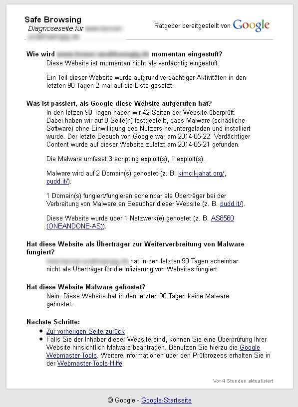 Safe Browsing Status bei Google